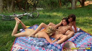 Cassie laine and friends in hot outdoors lesbian threesome
