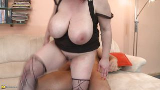 Huge breast mature bbw goes on top