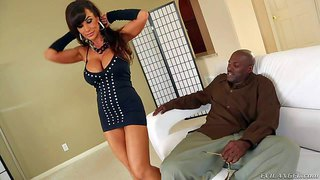 Lisa ann is a smoking hot dark haired milf pornstar with huge tits and big shapely ass. she shows it all to lexington steele before they get the interracial sex session started.