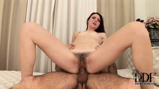 Skinny brunette babes catches her bush on fire from the fucking friction