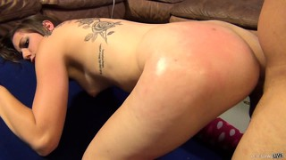 Summer gets her ass whacked as he drills her and then she sits on top