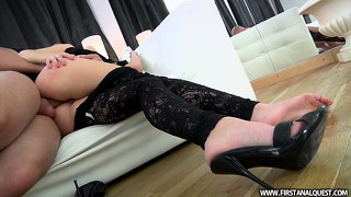 Brunette ira gets her ass fucked and then a rough face fucking