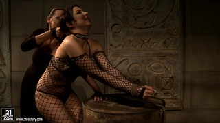 Sexy brunette slave offers herself up for her demanding mistress