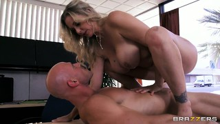 Milf babe julia ann riding cock on top of her bosses desk in a hot office sex video