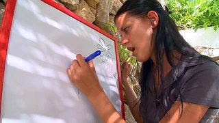 Adria and mia are two tender young brunettes have lesbian fun after dreaming of cock. sexy black haired chick in pink panties spreads her long legs in front of her friend outdoors.