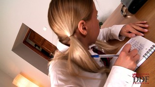 Schoolgirl nikki is a naughty girl and gets spanked by the teacher