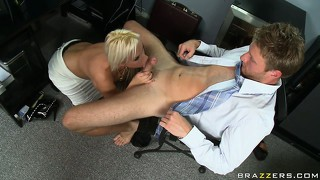Horny politician gets a blowjob and a titjob then licks her wet snatch