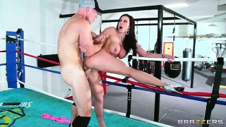 The final bell dings as this horny boxer unloads his cream on her pretty milf face