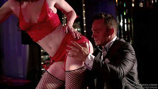 Dark haired skillful stripper jennifer white with natural boobs and soft milky skin in red underwear and fishnet stockings teases marcus london until her gets very horny and starts licking her