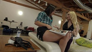 Attractive blonde aiden starr goes topless in front of lovely lesbian brunette sinn sage. brunette touches blonde's perfect big melons before they kiss with big desire. watch lesbians have fun.