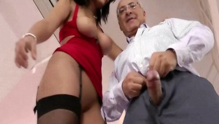 Younger slut sucking to old man