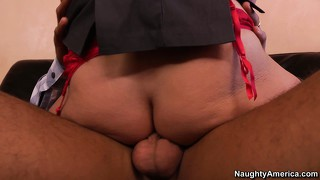 Madison rides him with passion and savors the taste of her pussy on his shaft