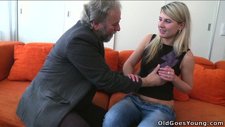 Vika is stripped of her clothes by a bearded sex fiend and licked out