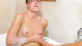 Mia with small tities and clean muff takes ivana s fingers in her honeypot
