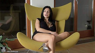 Black haired stunning aletta ocean with jaw dropping ass and big firm balloons in sexy black dress remembers her wet solo fantasy during casual interview on a lazy afternoon