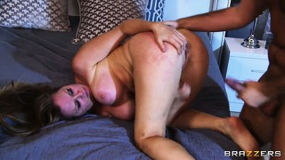 Huge dick pounding away at her pussy from behind is making this milf go crazy