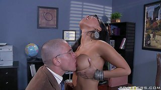 Attractive smoking hot black haired asian schoolgirl with firm boobs and steaming hot firm ass in sexy white undies does striptease for her her professor mick blue and takes on his cock