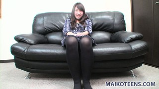 Beautiful asian girl aiko sensually reveals her spicy ass and her tight pink pussy