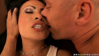 Long-haired asian love-mate is happy to know that this cock wants her mouth badly