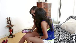 Sinn sage and vicki chase decide to make their lesbian dreams a reality. two ladies with long dark hair kiss with passion and strip sitting on the edge of the bed. watch two hot blooded girls have fun.