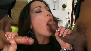 Brunette fucks like a first rate hoe in interracial action