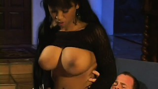 The busty ebony girl maia ginger rides his long white cock on her way to find pleasure