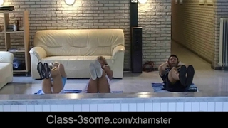 Horny blondes tease and smash their gym instructor
