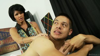 Strict mum teaching her daughter how to suck cock the right way