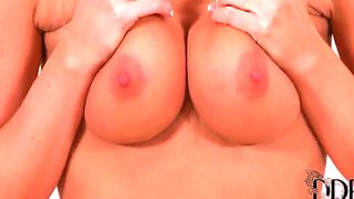 Our magnificent amateur girlfriend is showing her gentle boobs and pussy