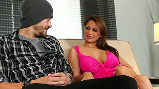 Red-haired young slut was fingered and licked and then she sucked man's big dick