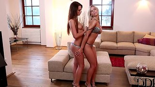 The dream lesbian action with sweet blonde and hot brunette