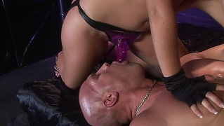 Penny flame humbles her man bitch with her strap-on cock