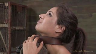 Superb chick tied on a post and mouth fucked