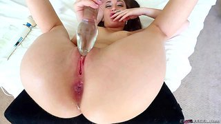 Cute brunette gabriella paltrova fills her anal hole with thick smooth glass dildo before she takes hitachi wand. she stimulates her pink pussy with vibrator at the same time.