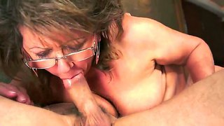 Hardcore action wit a nasty granny gigi m who gets a young dick in her hairy pussy