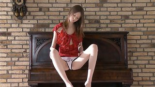 Skinny and sexy babe gloria takes off her panties and shows her shaved pussy