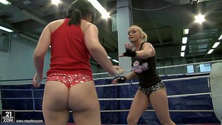 Kathia nobili and angell summers are the nest door to wrestle in the ring. juicy ass brunette in red panties finds herself topless after they get it started. watch pretty brunette get defeated by beautiful blonde.