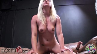 Whitney rides that big cock with excitement and her pretty tits sensually shake
