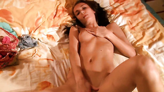With small breasts and hairless muff shows her love for pussy rubbing