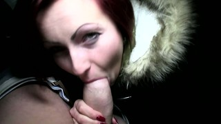 Euro redhead sucking cock for cash