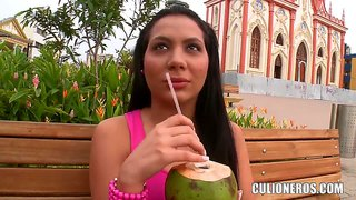 Dark haired and sexy babe latina reveals her tits outdoor
