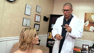 Dr horny has crotch watch fever and can't take his eyes off this masturbating blondie