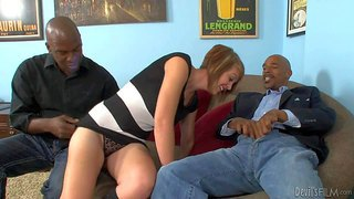 Lee bang and justin long like threesome hard fucking and today their victim is amazing redhead depraved chick kasmine cash. this naughty sex doll will suck their huge black cocks and ask more and more drilling