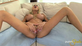 Stacked blonde cougar with a hot ass pleases herself with her fingers and a dildo