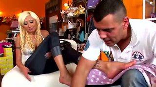 Sabrina rose has her tanned soles tickled