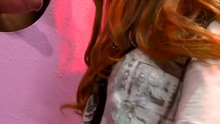 Hot ginger girl marie mccray plays with glory hole dick