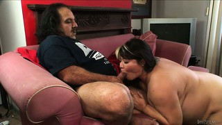 Big, chubby mom is getting pounded by ron jeremy and she blows