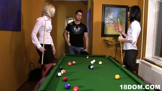 Lovely ladies doesn't want to play billiard, they want to fuck
