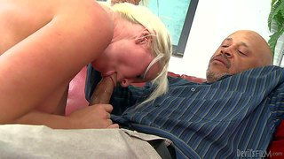Whitney grace enjoys in spending time with her new black daddy and getting her hands on his hard bazooka in the afternoon on the red leather couch and getting her pussy licked as well