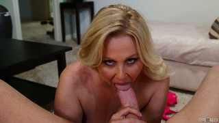 Busty blonde milf gets a cock jammed down her throat pov style